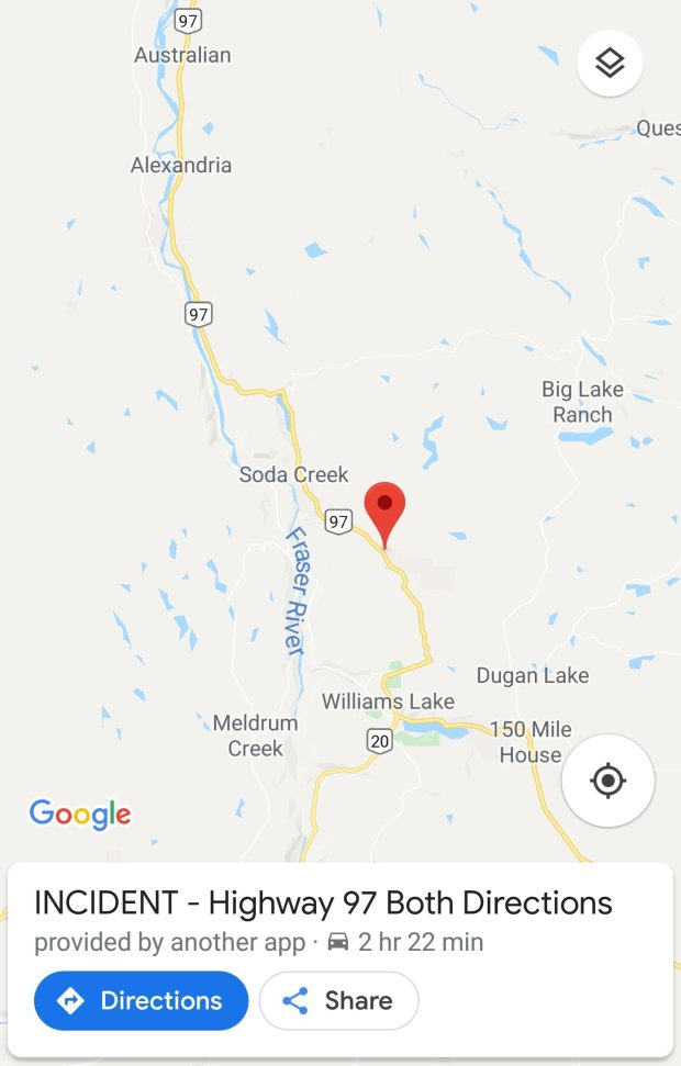 Open: Hwy 97 CLOSED north of Williams Lake… – PJXM News