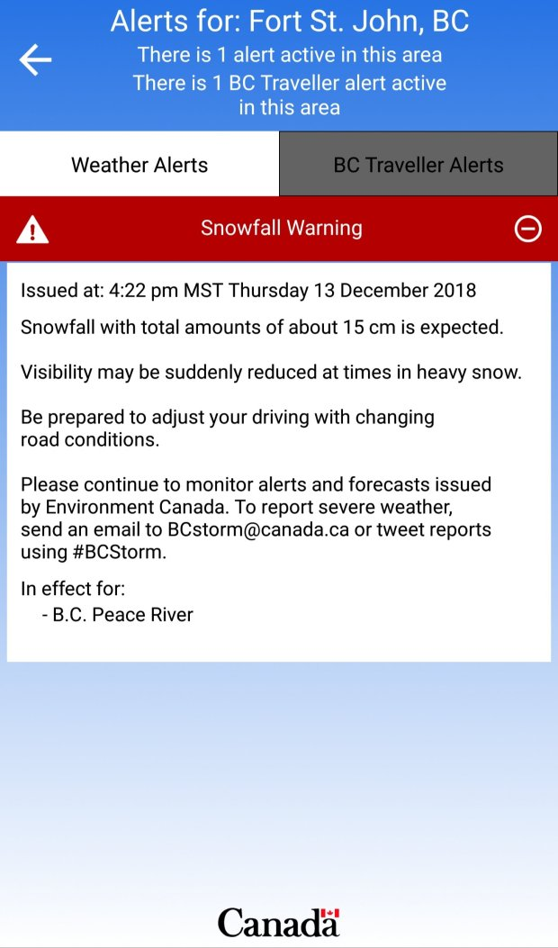 Snowfall Warning for the Pine Pass and BC Peace… – PJXM News